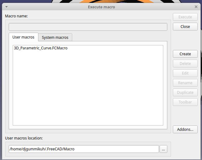 Auswahldialog installierter Makros
